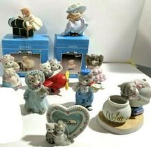 9 Cat Figurines Kitty Cucumber Wedding/Fishbowl/Campfire Anthropomorphic... - £58.58 GBP