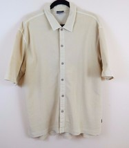 Woolrich Cordoury Button Front Shirt Mens Size L Yellow Short Sleeve - $17.77