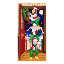 Funny Santa Elf Totem CHRISTMAS ELVES DOOR COVER POSTER Holiday Mural De... - $8.88