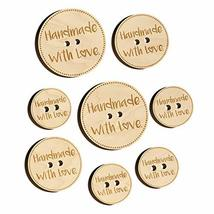 Handmade with Love Heart Dotted Circle Wood Buttons for Sewing Knitting ... - $9.99