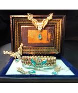 MCM Gold and Aquamarine Jewelry Set  / Antique Gold tone and Aqua Marine Parure  - $145.00