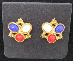 NOS Sarah Coventry Americana Red White Blue Gold Clip On Earrings W/ Box -C4 - $17.99