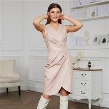 Sexy Hem Slit V-Neck Sleeveless Pu Leather Dress Glossy Patent Vinyl Leather Min