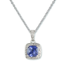 4CTW BLUE TANZANITE CUSHION & PAVE CLEAR CUBIC ZIRCONIA  PENDANT NECKLACE - $39.59