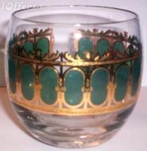 EAMES ERA MID CENTURY MODERN--GOLD CULVER ROLLY POLLY EMERALD SCROLL GLASS - $7.95