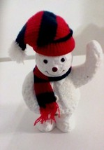 Holiday White Snowman Figurine Black Red Scarf Hat - $4.95