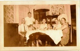 Vintage Antique Photograph People Having Dinner in Retro Dining Room - $5.94