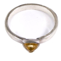 Early .925 Sterling Silver w Yellow Stone Ring - $17.95