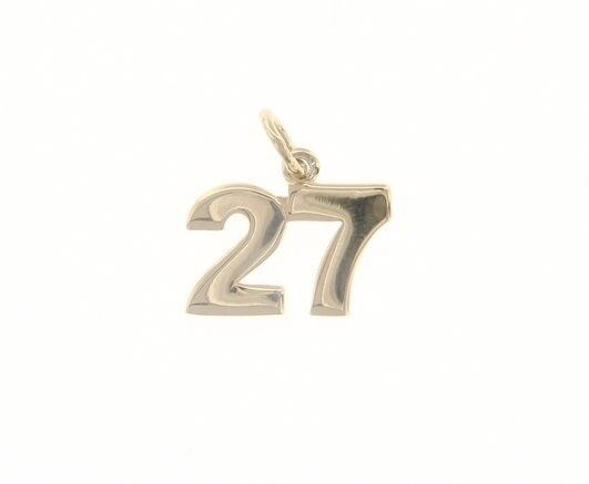 18K YELLOW GOLD NUMBER 27 TWENTY SEVEN PENDANT CHARM 0.7 INCHES 17 MM MADE ITALY