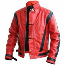 Red Genuine Leather Thriller Jacket with Black V Stripes - $272.25+
