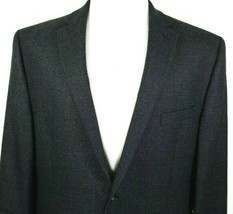Calvin Klein Mens Sport Coat Size 46 R Blue Gray Micro Check Plaid 100% ... - $44.50