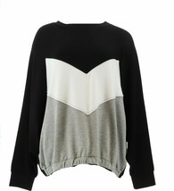 Tracy Anderson GILI Color-Blocked Raglan Slv Sweatshirt Noir Black M NEW... - $19.78
