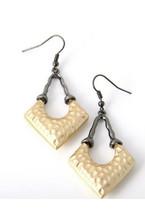 Gold Tone Hammered & Hematite Arrow Dangle Earrings - $14.25
