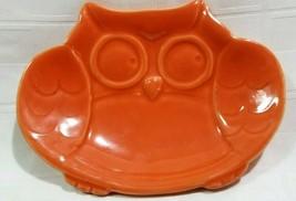 "Vtg CUTE ATOMIC ORANGE OWL SOAPDISH Ceramic 6"" LONG Rare D3 - $15.75"