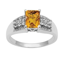 Citrine & White Topaz 925 Sterling Silver Ring Shine Jewelry Size-8.5 SH... - £19.29 GBP