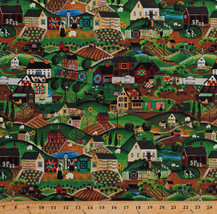 Cotton Amish Country Rural Village Folk Art Lancaster Fabric Print BTY D... - $11.49