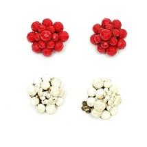 Vintage Beaded Cluster Clip On Earrings Red & White 2 Pair Lot Retro - $18.74