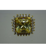 Signed ADI Large Yellow Square Crystal & CZ Halo Vermeil Ring,Sz.6,Gold ... - $49.95
