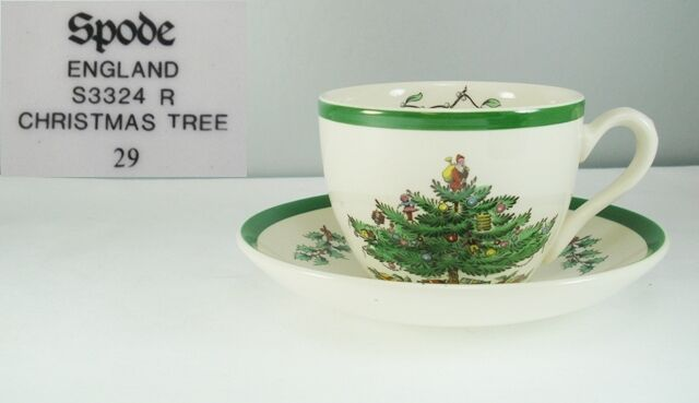 Primary image for Spode S3324 Christmas Tree Cup & Saucer Green Trim
