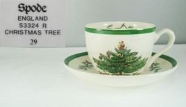 Spode S3324 Christmas Tree Cup & Saucer Green Trim - $19.99