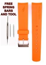 Nautica A20103G 22mm Orange Diver Rubber Watch Strap Band Anti Allergic ... - $28.88