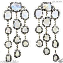 Rainbow Moonstone 14k Gold Chandelier Earrings Pave Diamond .925 Silver ... - $1,890.33