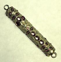 Judaica Mezuzah Case Off White Enamel Pale Purple Crystal Decorated Jeweled 7 cm