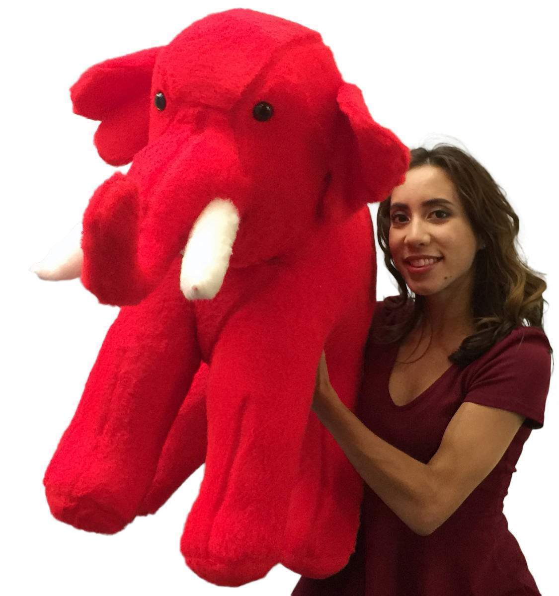 American Made Large Stuffed Red Elephant 36 Inches Big Plush Animal Made in USA