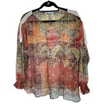 Zara Womens Red Yellow Paisley Print Long Sleeve Sheer Blouse Top Sz S - $15.84