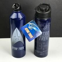 Lot of 2 Star Trek Stainless Steel Water Bottles USS Enterprise NCC-1701... - $29.98