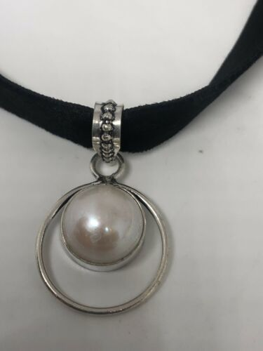 Vintage White Pearl Silver Necklace Choker