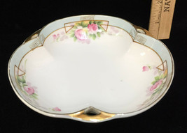 Nippon Candy Serving Bowl Trinket Dish Hand Painted Pink Rose Vintage Gold Trim - $10.88