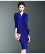 Women's Elegant V-neck Pleat Dress (Premium) - $81.54
