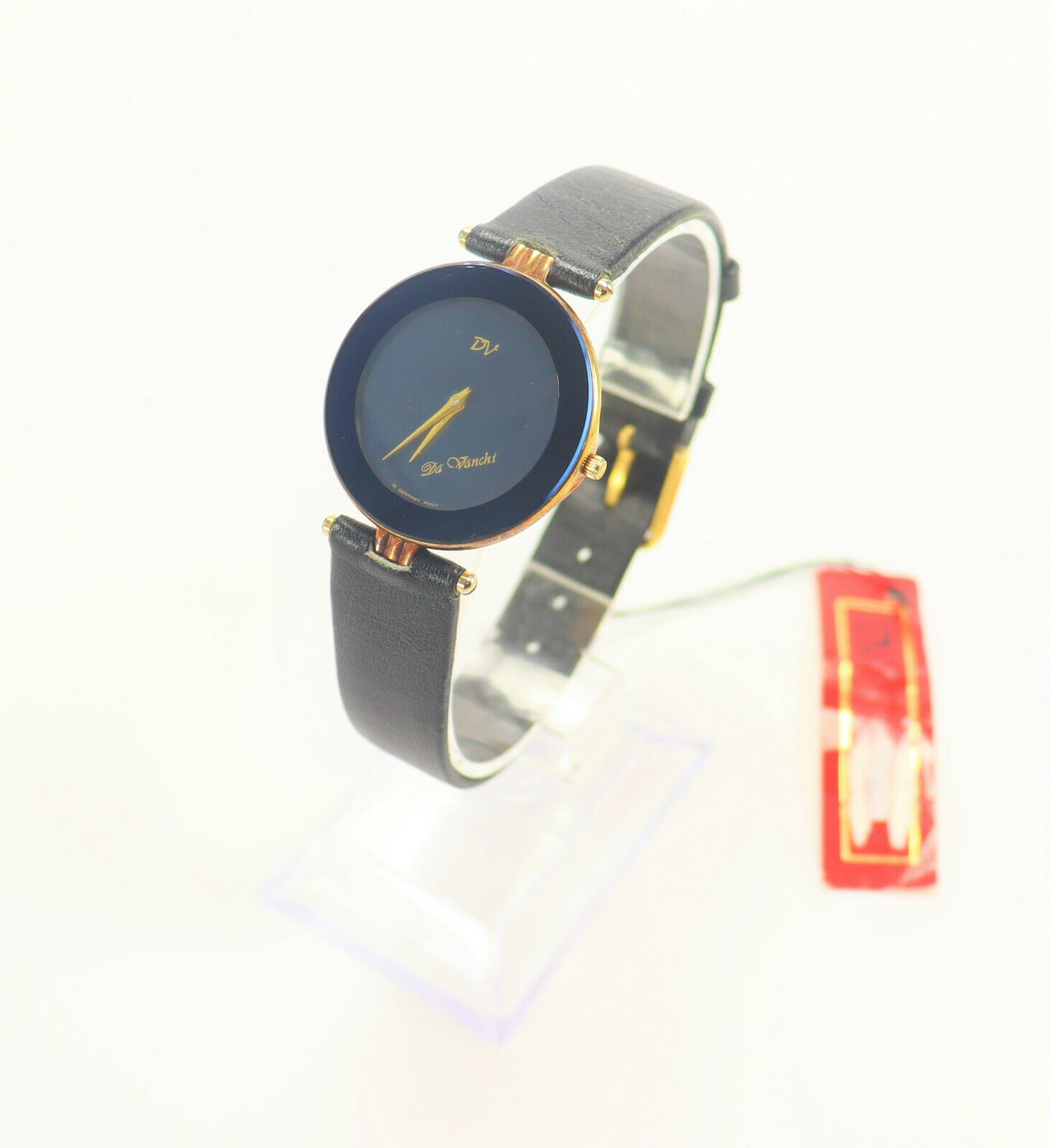 Primary image for Da Vinchi Ladies Watch Black Leather Blue Bezel Black Dial Vintage 1980's New