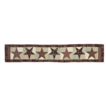 ABILENE STAR Hand-quilted Runner -13x72- Table/Dresser- Burgundy/Tan/Brown - VHC