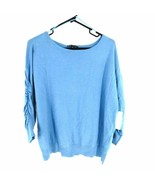 INC International Concepts Women's Knit Sweater XL Blue Ruched 3/4 Sleeve - $58.41