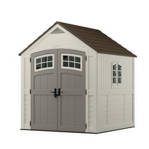 Suncast Storage Shed 7 ft. 3 in. x 7 ft. 4.5 in. Lockable Door Beige/Cream - $921.90