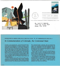 1st Day of Issue, Commemoration of Colorado, the Centennial State, 1977 ... - $2.50