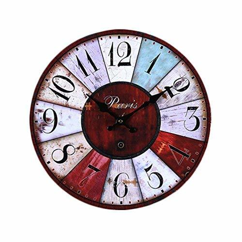 PANDA SUPERSTORE Retro Nostalgia Wooden Wall Clock Vintage Look Home Decoration(