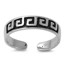 Greek Fret Art Design Adjustable Toe Ring White Gold Plated 925 Sterling... - $9.99