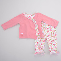 Baby Girl 0-3 Months Laura Ashley® 2pc. Rose Ruffle Top Pants Set B594 - $11.99