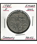 """1985 F, West Germany 5 Mark Commemorative """"European Year of Music"""" Coin - $5.52"""