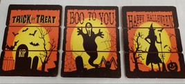 "SET of 3 DIFFERENT WOODEN WALL DECOR PLAQUES (9"" x 7"") HALLOWEEN THEME - $17.81"
