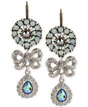 Betsey Johnson Silver-Tone Crystal Bow Triple Drop Earrings  NWT - $25.59