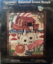 Two by Two Counted Cross Stitch Kit Noahs Ark Animal 11x14 Vintage Charm... - $13.99