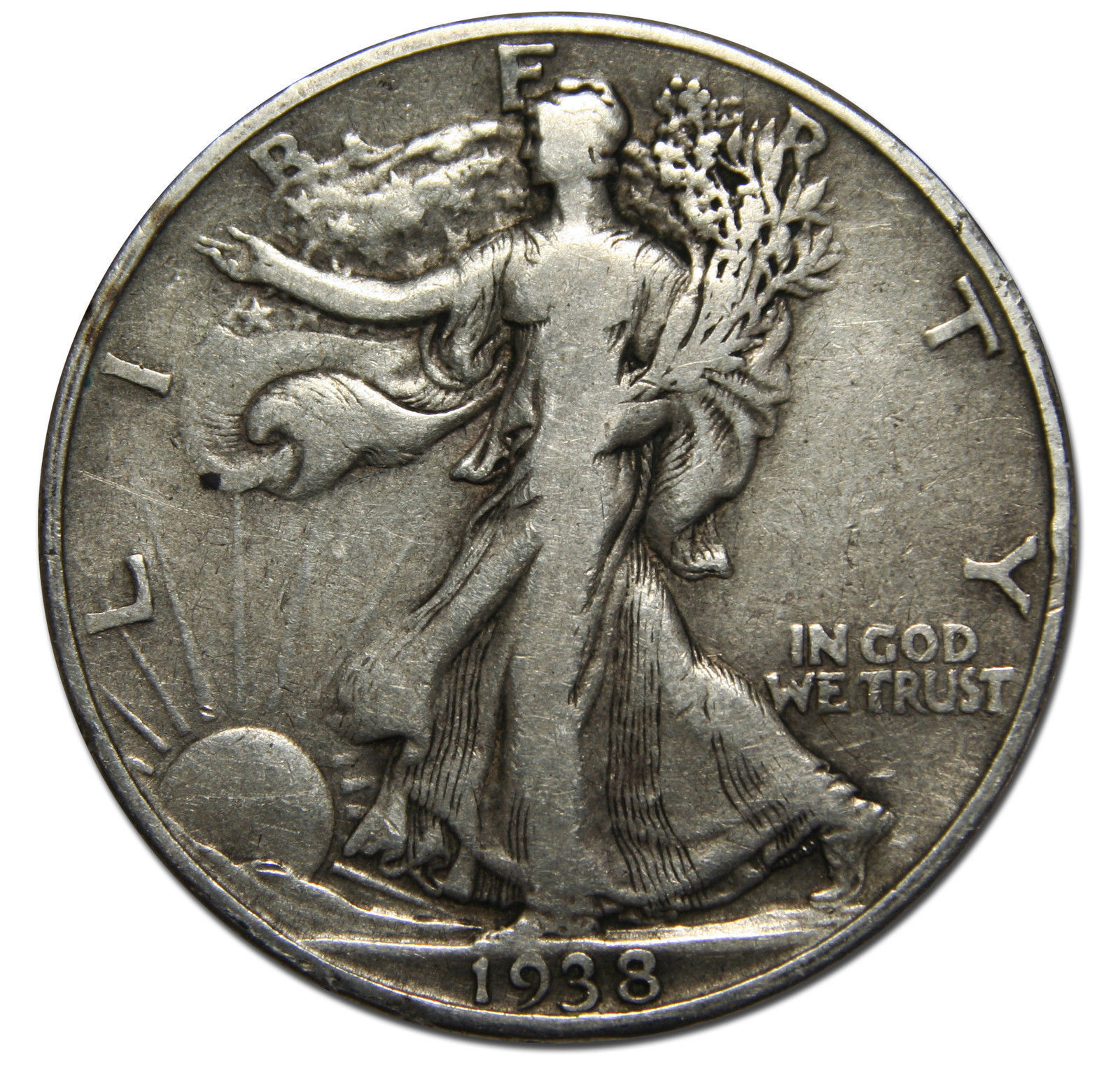 1938D Walking Liberty Half Dollar 90% Silver Coin Lot# A 2026