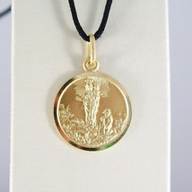 SOLID 18K YELLOW GOLD OUR MARY LADY OF THE GUARD 11 MM ROUND MEDAL MADE IN ITALY image 1