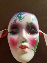 "Ceramic ~ Painted Mask ~ 4.5"" Tall ~ Mardi Gras Style Mask - $25.34"