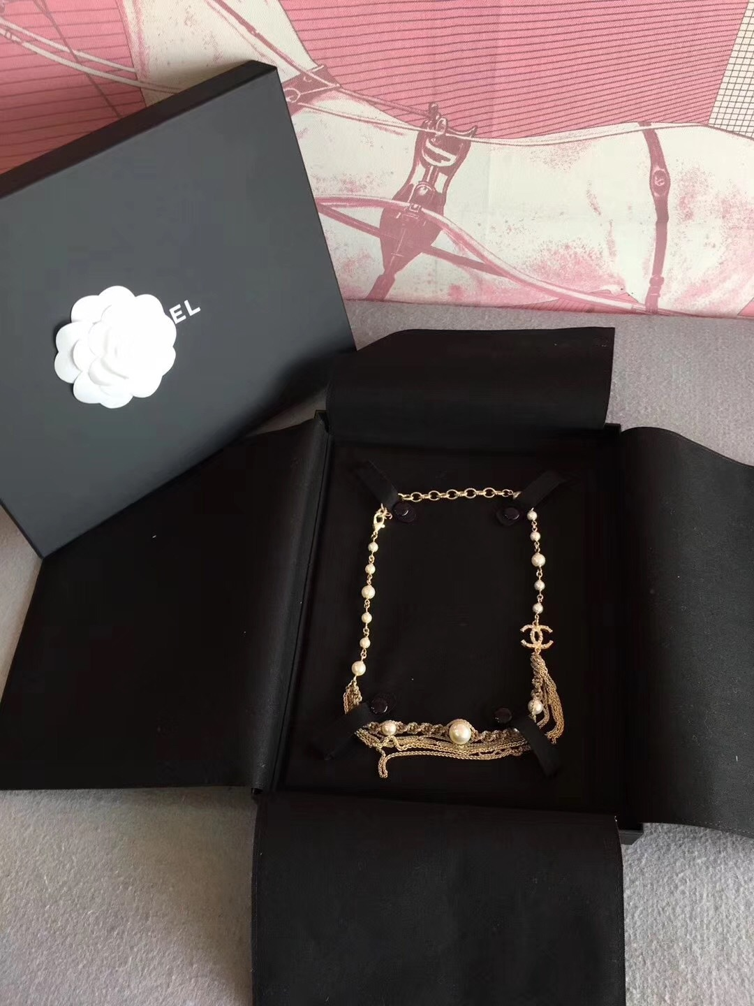 100% AUTHENTIC CHANEL CC LOGO MULTI CHAIN PEARL LONG NECKLACE GOLD LIMITED EDITI