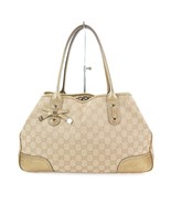 Authentic GUCCI Beige GG Canvas and Gold Leather Tote Shoulder Bag Purse... - $195.00